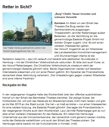 Die BURG - Theater am Biedermannplatz, HH Wochenblatt 9.12.2015