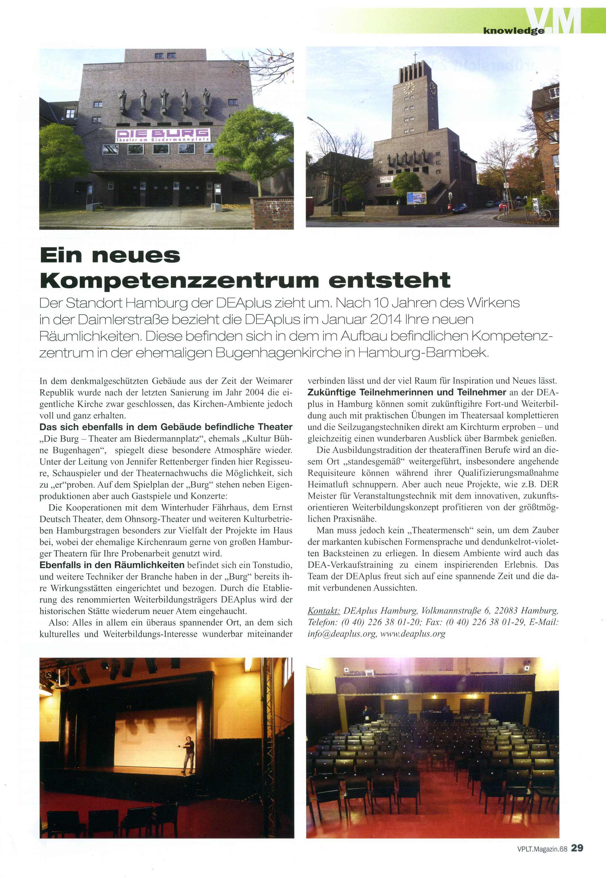 Ein Artikel über die BURG in der Verbandszeitung des VPLT