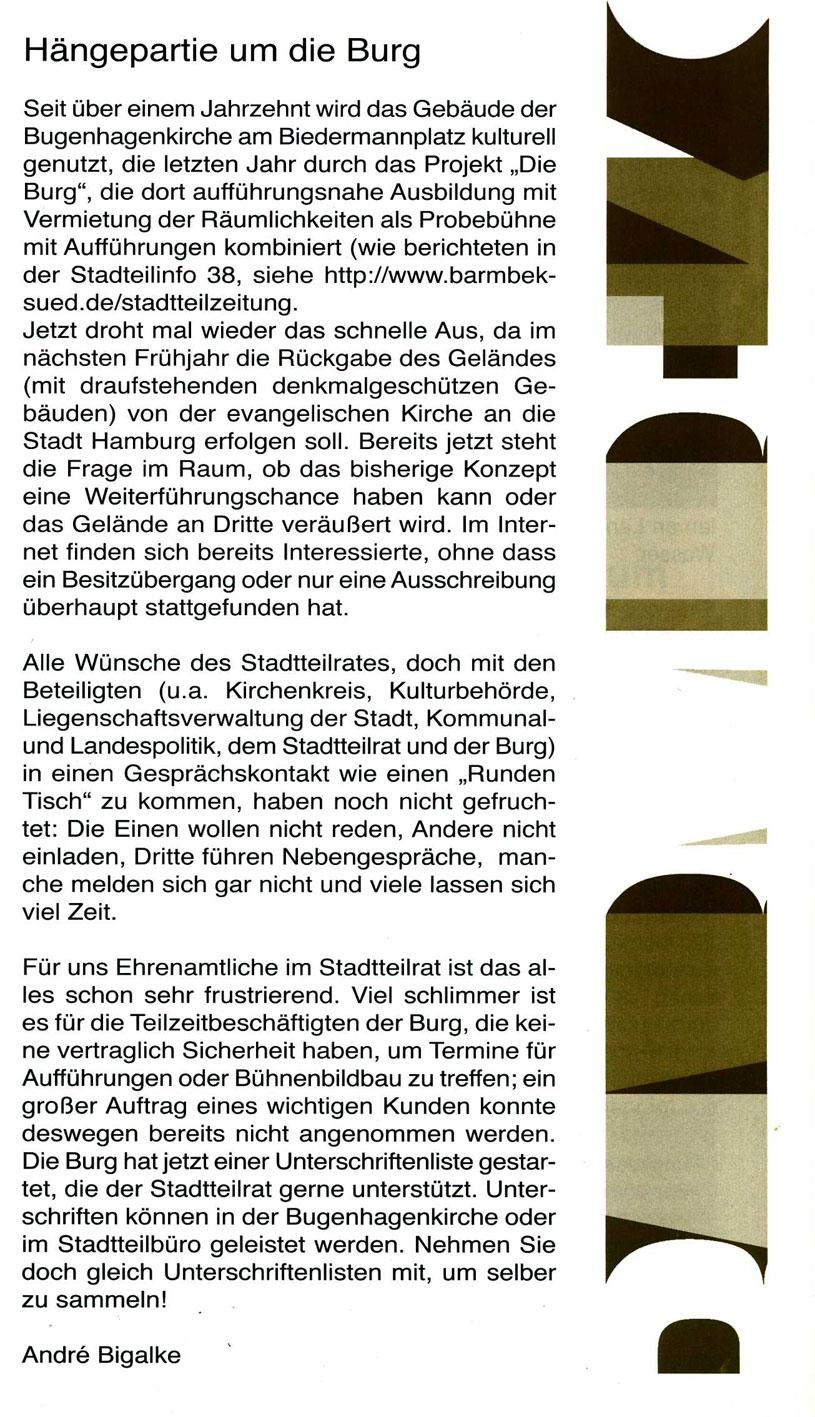 Stadtteilratvorsitzender Herr Bigalke äussert sich zum Thema Bugenhagenkirche:
